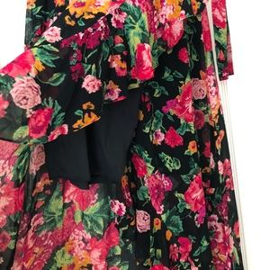BCBG Floral wrap maxi skirt